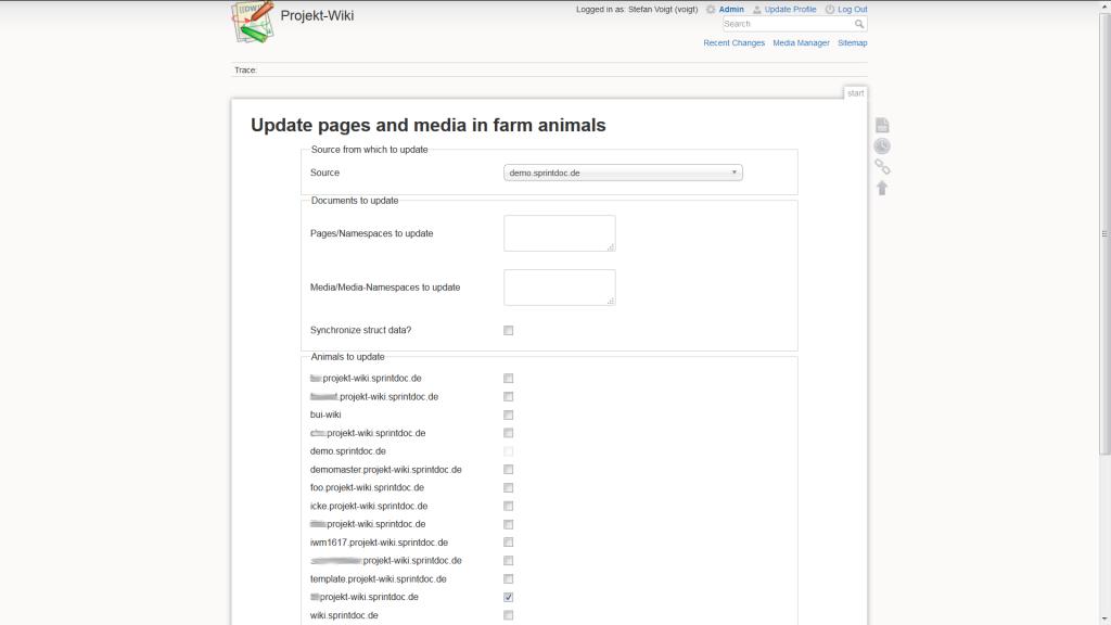 Synchronisation von Inhalten zwischen verschiedenen Animals